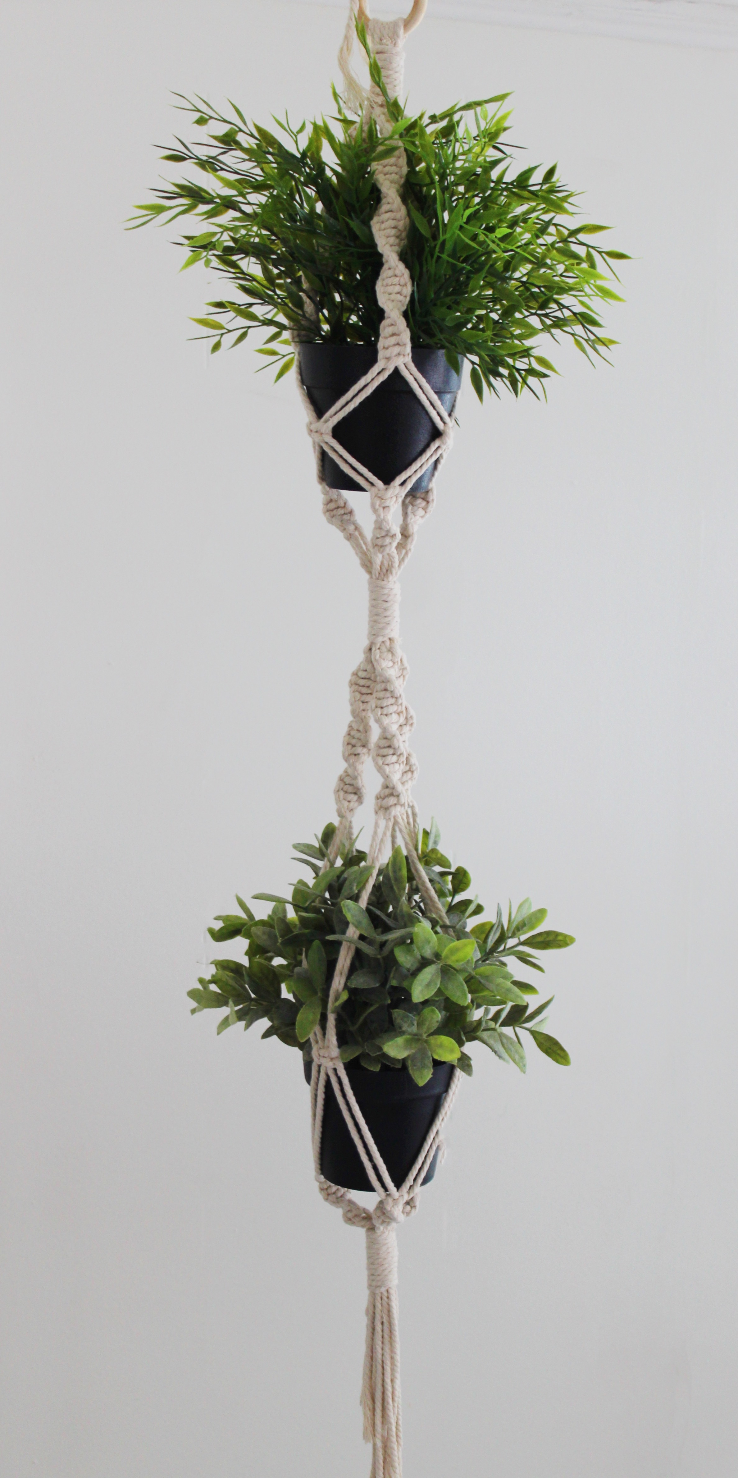 Double Macrame Plant Hanger Twisted Sisters